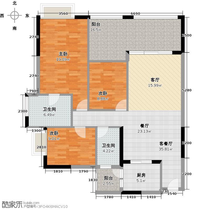中国美林湖144.00㎡美汇半岛D户型3室1厅2卫1厨