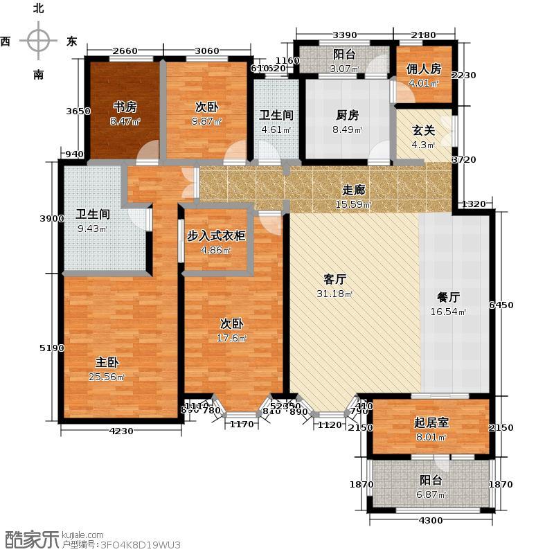 中国铁建・花语城205.00㎡4-J2+功能房户型4室2卫1厨