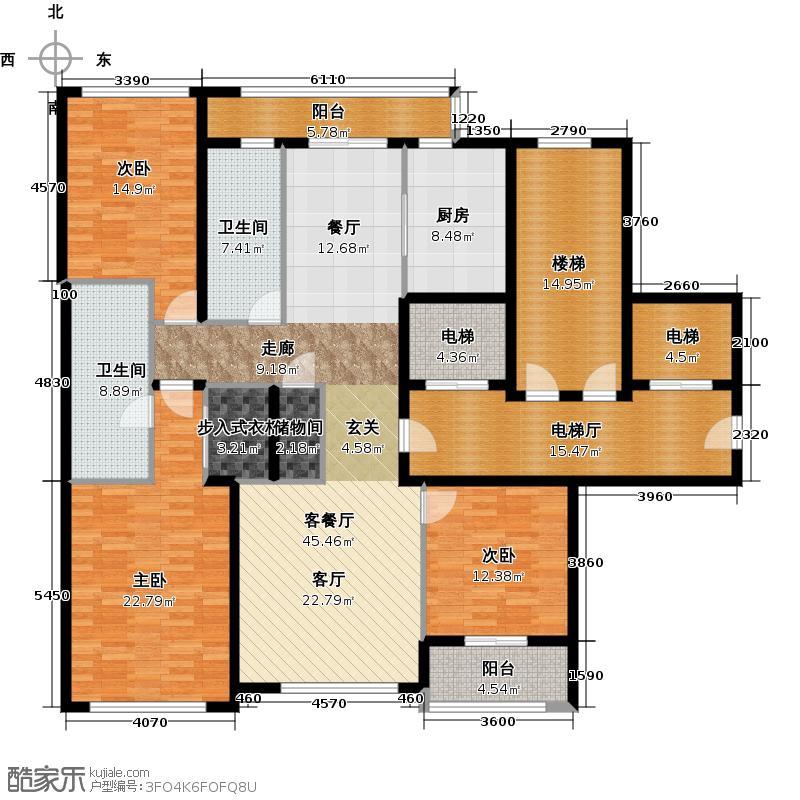 绿城西溪诚园170.00㎡B-1户型3室2厅2卫