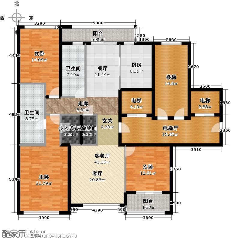 绿城西溪诚园169.00㎡B-2户型3室2厅2卫