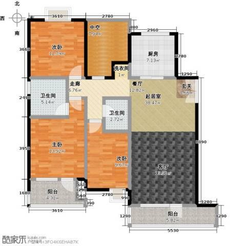 首创・澜茵山3室0厅2卫1厨124.00㎡户型图