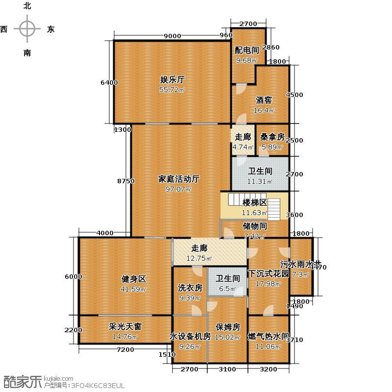 绿城曼陀花园347.00㎡N3地下室户型3室3卫
