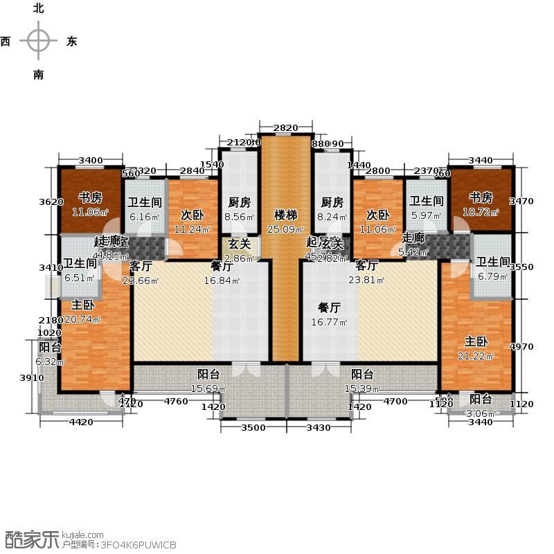 博恩御山水314.79㎡洋房A南入口三层户型6室4卫2厨