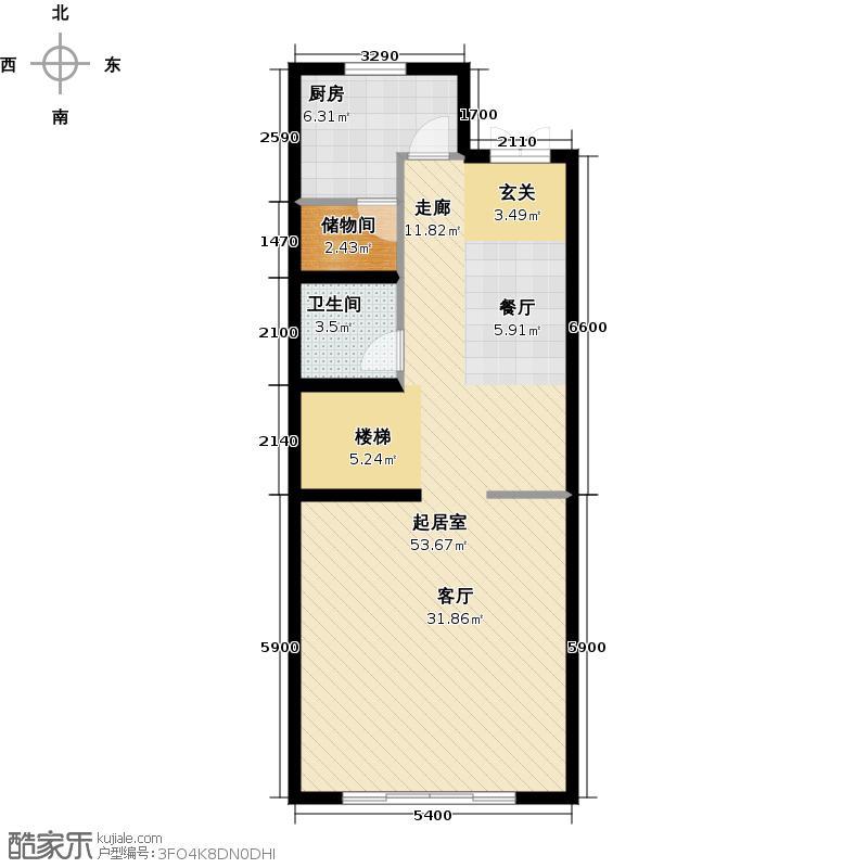 尚东庭73.10㎡A区A3号楼3单元一层户型1卫1厨