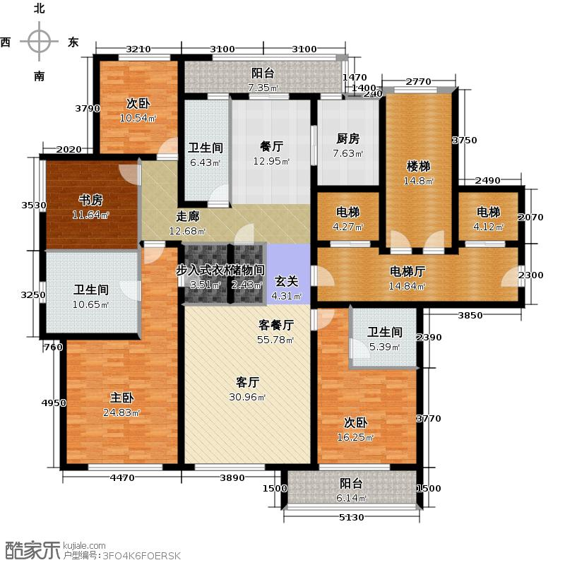 绿城西溪诚园209.00㎡H-1户型4室2厅3卫