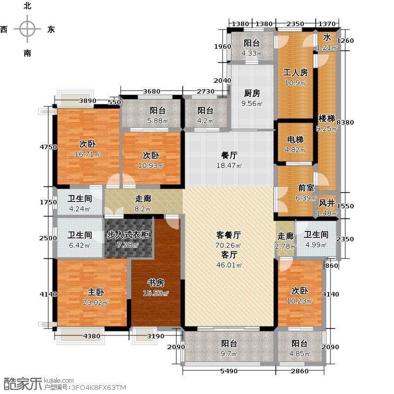 保利中央公馆258.00㎡12栋01单位户型5室1厅3卫1厨