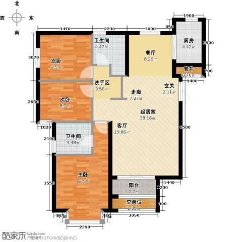 首开・国风美仑3室0厅2卫1厨120.00㎡户型图