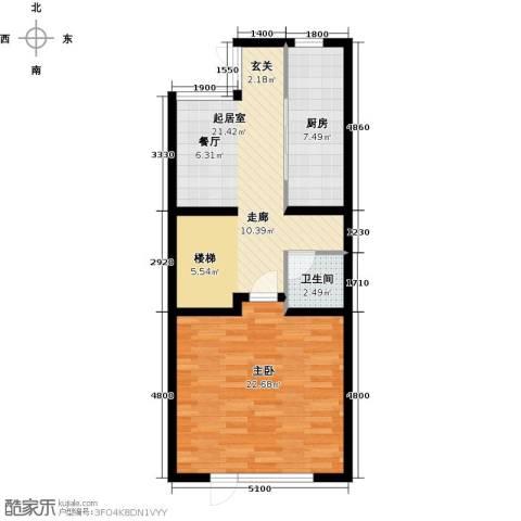 尚东庭1室0厅1卫1厨77.00㎡户型图
