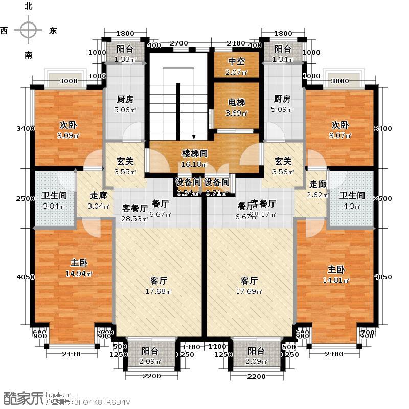润泽悦溪88.00㎡Ca单元标准层平面图户型4室2厅2卫2厨