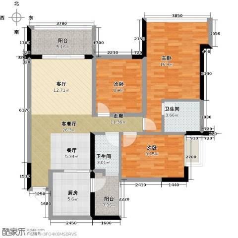 增城雅居乐御宾府盈通街3室1厅2卫1厨119.00㎡户型图