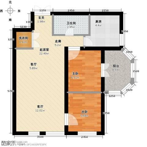 首开・国风美仑2室0厅1卫1厨66.00㎡户型图