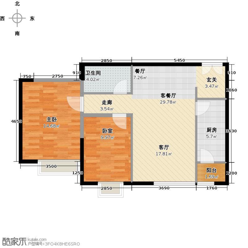 富力又一城72.67㎡C11号楼1单元03两室户型1室1厅1卫1厨