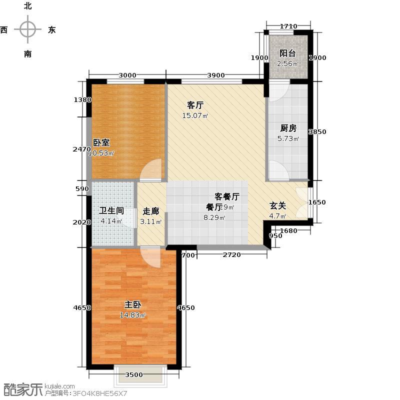 富力又一城73.46㎡C11号楼1单元05两室户型1室1厅1卫1厨