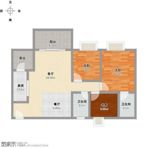 大自然广场3室1厅2卫1厨102.00㎡户型图