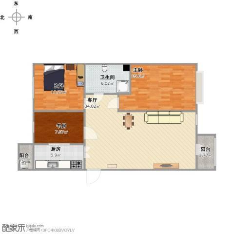美然绿色家园3室1厅1卫1厨114.00㎡户型图