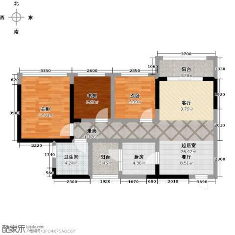 敏捷・金月湾3室0厅1卫1厨91.00㎡户型图