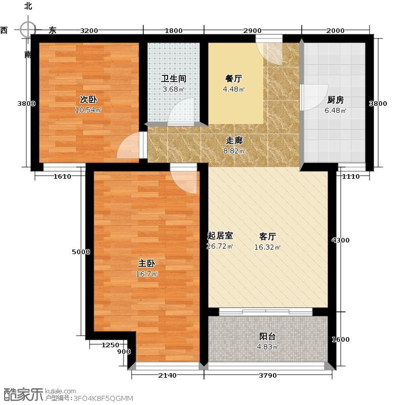 华业东方玫瑰92.00㎡C3户型2室1卫1厨