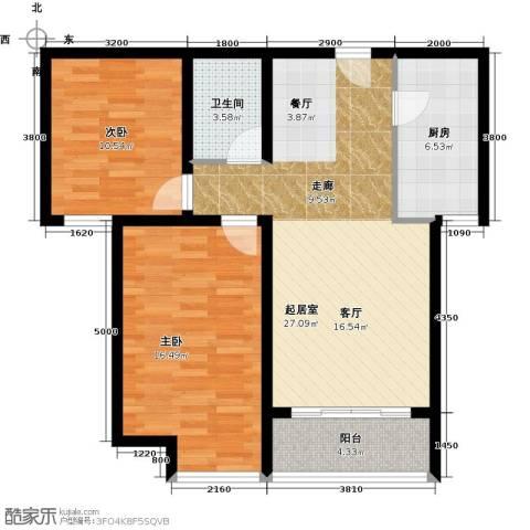 华业东方玫瑰2室0厅1卫1厨92.00㎡户型图