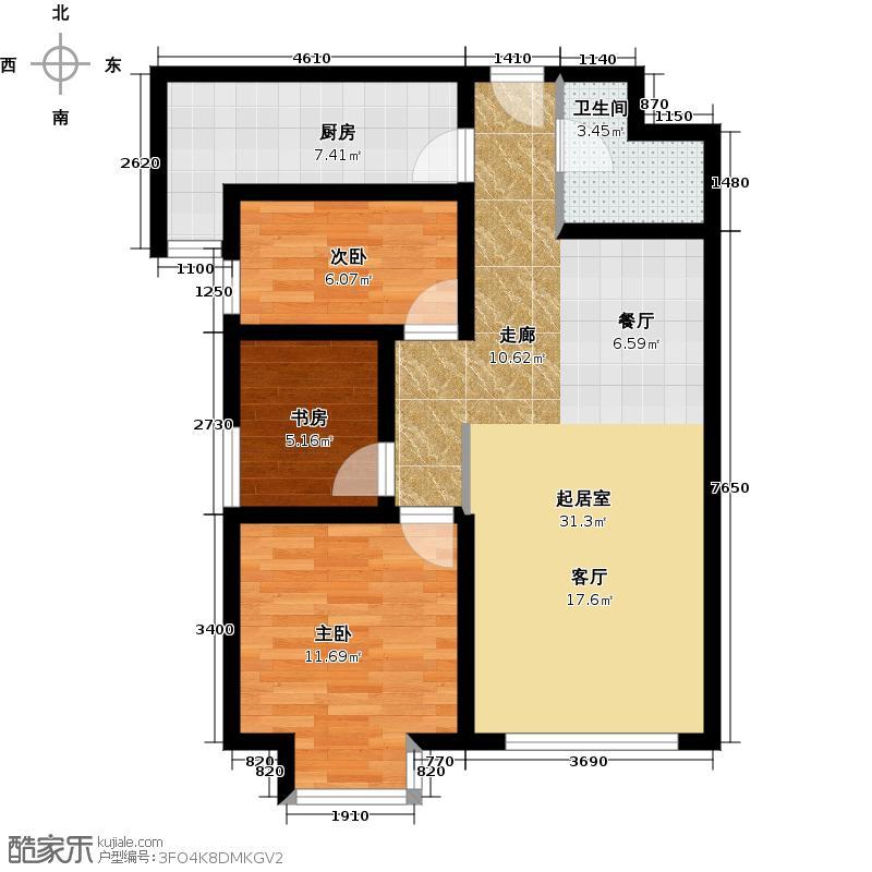 华业东方玫瑰89.00㎡C2-1-02户型3室1卫1厨