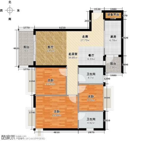 花都富庄庭3室0厅2卫1厨108.00㎡户型图
