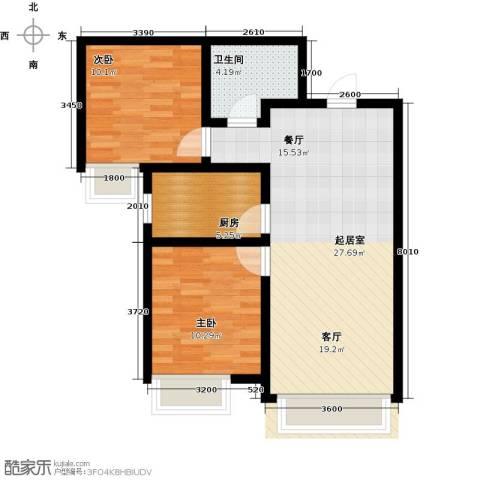 保利・罗兰香谷2室0厅1卫1厨85.00㎡户型图