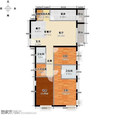 优品国际公寓3室1厅2卫1厨129.00㎡户型图