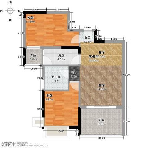 宇丰名苑2室1厅1卫1厨91.00㎡户型图