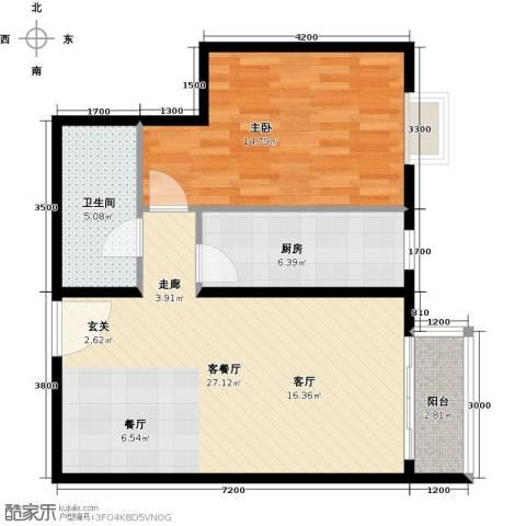 优品国际公寓1室1厅1卫1厨76.00㎡户型图