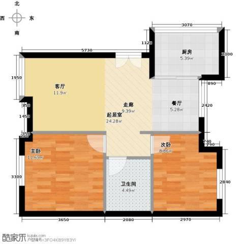 万象新天2室0厅1卫1厨76.00㎡户型图