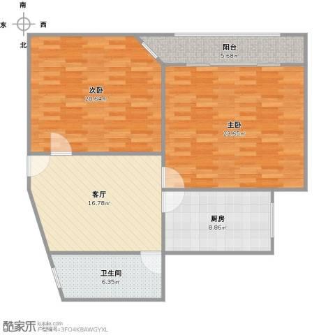 德六高层小区2室1厅1卫1厨109.00㎡户型图