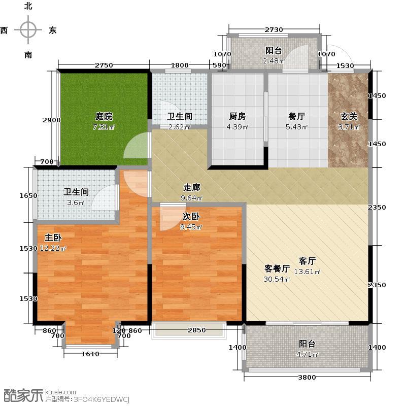 钜隆东逸湾花园98.00㎡3栋04户型2室1厅2卫1厨