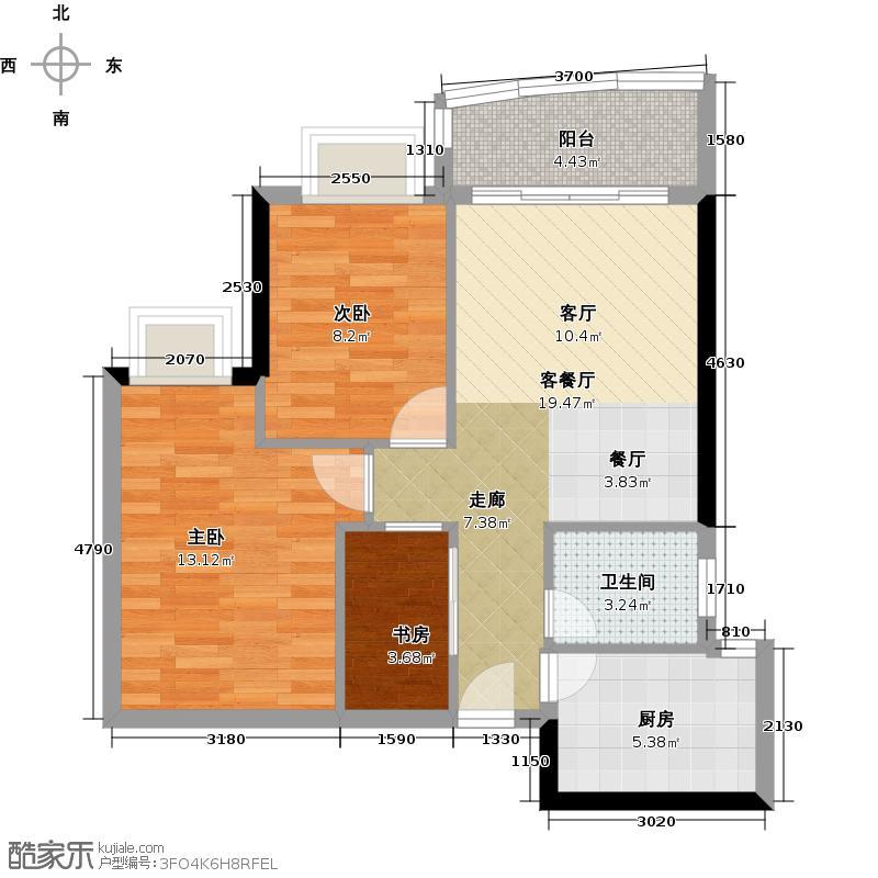 逸景翠园80.00㎡丹顿公寓D型方户型3室1厅1卫1厨