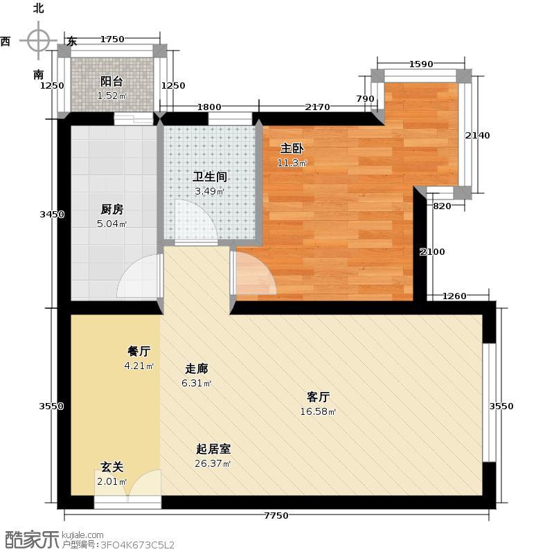 北京新天地67.15㎡图为16F户型1室1卫1厨