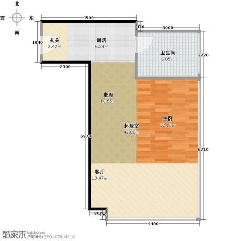 广州萝岗万达广场1卫0厨61.00㎡户型图