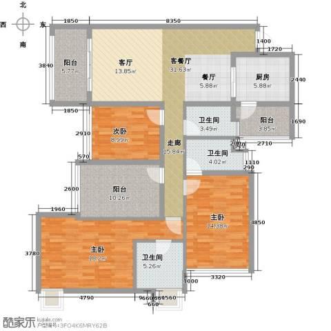 增城雅居乐御宾府盈通街3室1厅3卫1厨144.00㎡户型图