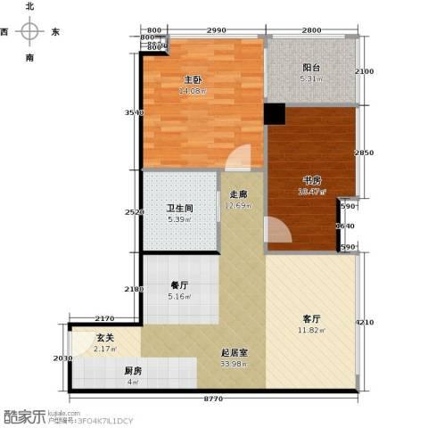 广州萝岗万达广场2室0厅1卫0厨90.00㎡户型图