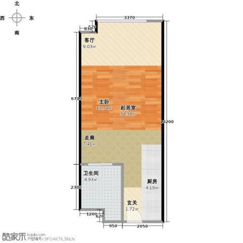 广州萝岗万达广场1卫0厨55.00㎡户型图
