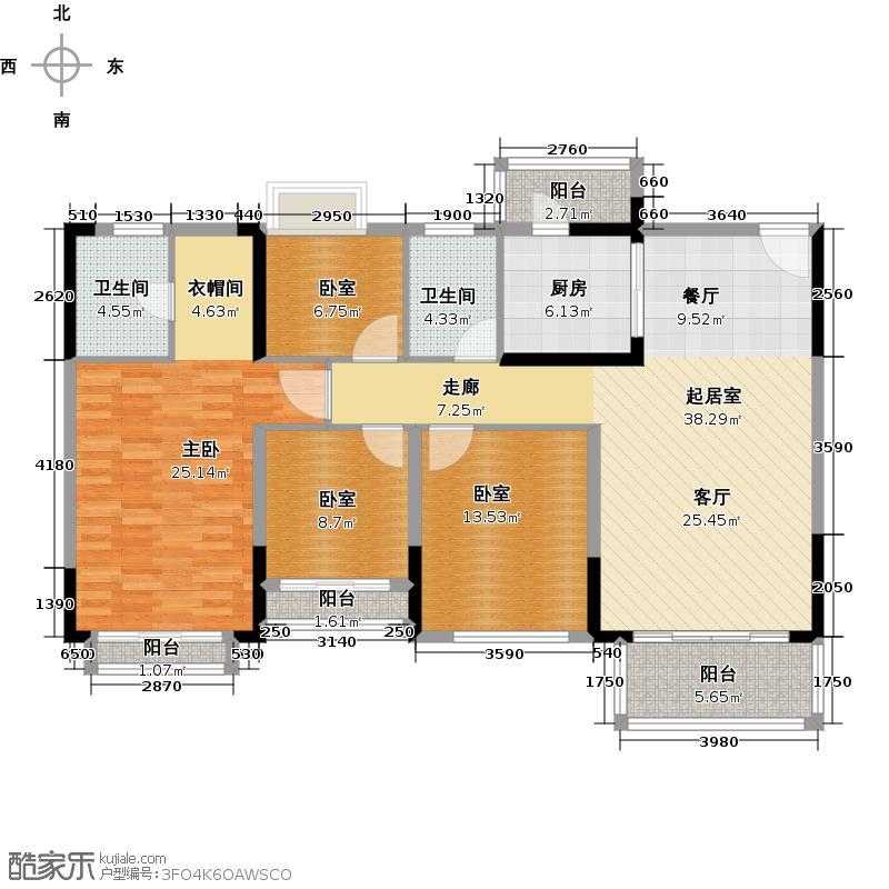 锦绣国际花城135.11㎡3幢5-15层04单元户型1室2卫1厨