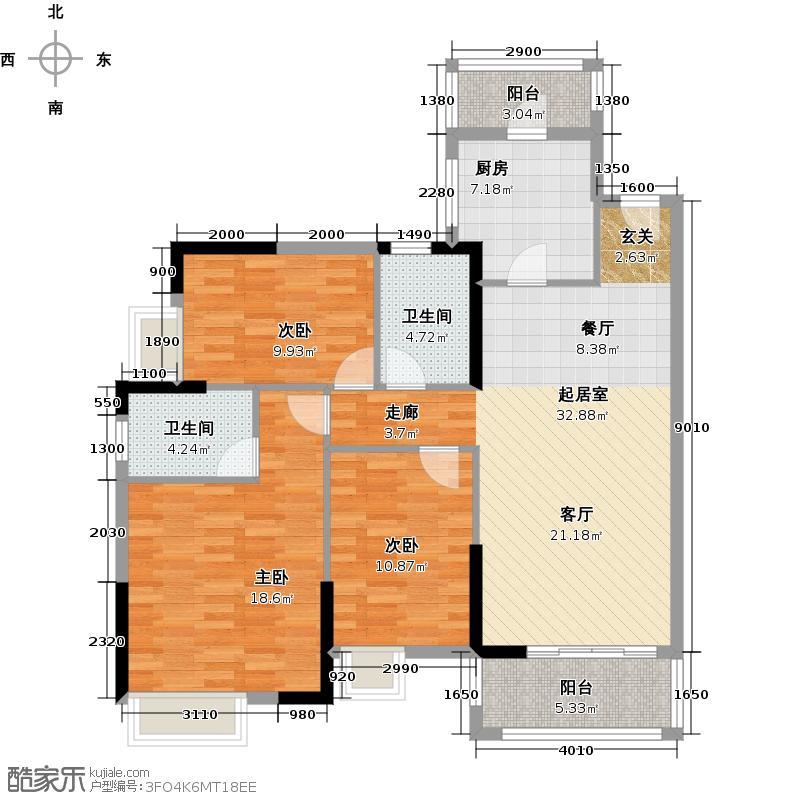 珠江嘉园109.00㎡7栋B梯02单元户型3室2卫1厨