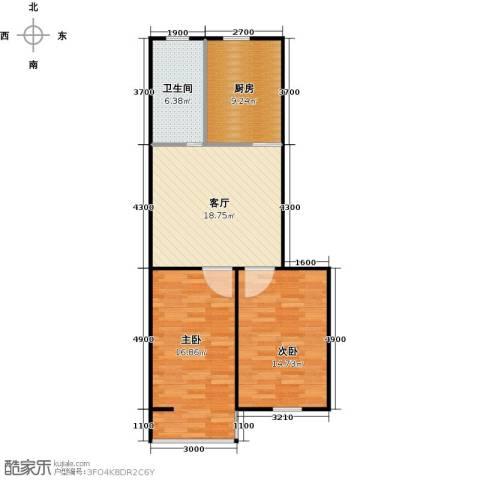 青城庄园2室1厅1卫1厨72.00㎡户型图