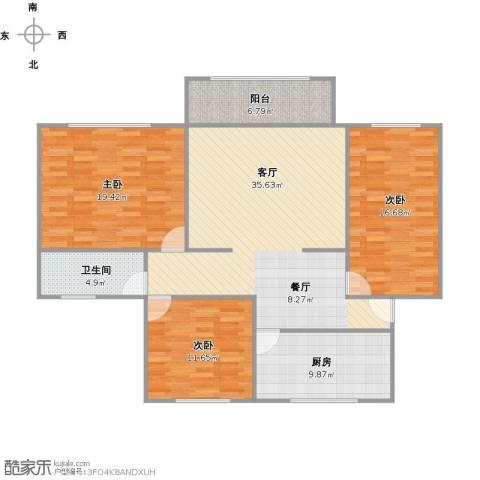 顾村大家园3室1厅1卫1厨140.00㎡户型图