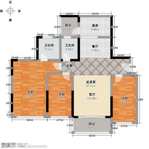 敏捷・金月湾3室0厅2卫1厨128.00㎡户型图