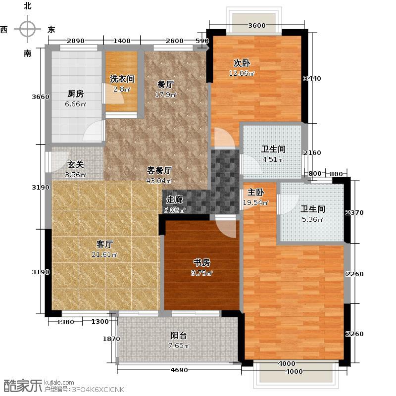 保利城花园123.79㎡塞汶湖K栋03单位户型3室1厅2卫1厨
