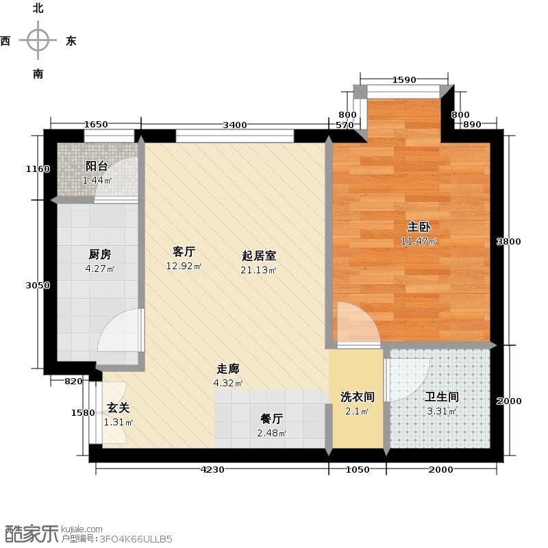 北京新天地61.04㎡5号院15号楼15H-H反户型1室1卫1厨
