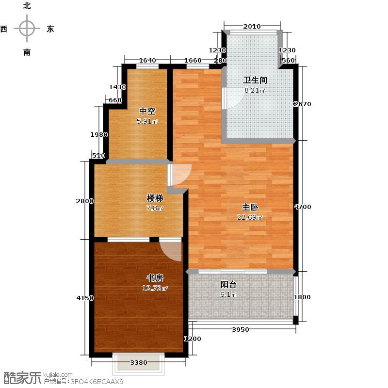 金隅长安山麓71.08㎡上跃中间单元和风世家2层三室户型2室1卫