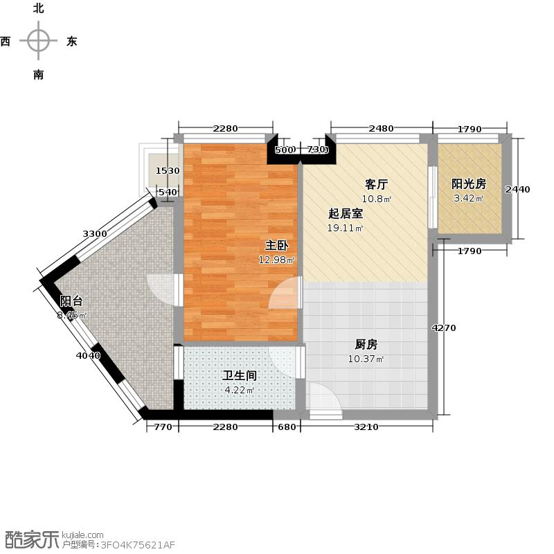 金山谷61.00㎡e度组团H户型1室1卫