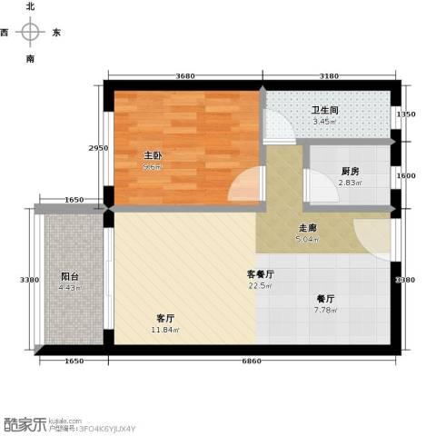 虎门国际购物中心1室1厅1卫1厨61.00㎡户型图