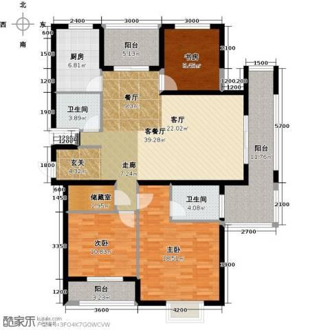 中乐百花公馆3室1厅2卫1厨164.00㎡户型图