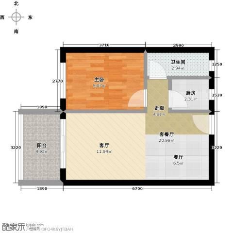 虎门国际购物中心1室1厅1卫1厨58.00㎡户型图