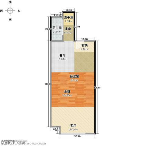 广州萝岗万达广场1卫0厨56.00㎡户型图
